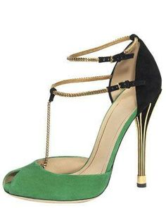 #Ophelie Two-Tone Open-Toe Pump, Green/Black by Gucci at Bergdorf Goodman.