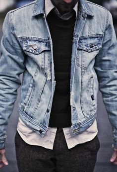 The denim jacket: one of the best transitional positions in a mans wardrobe. #mensfashion