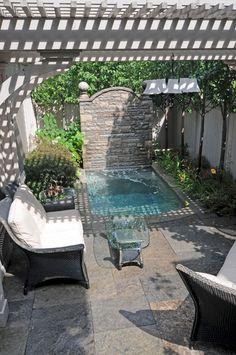 Coolest Small Pool Idea For Backyard 43 Backyard pool hot tubs Coolest Small Pool Ideas with 9 Basic Preparation Tips Backyard Pool Designs, Small Backyard Pools, Small Patio, Backyard Patio, Backyard Landscaping, Backyard Ideas, Small Yards, Patio Ideas, Landscaping Ideas