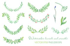 Watercolor laurels and wreaths set by mcherevan on Creative Market