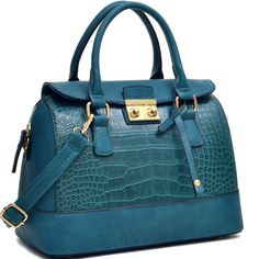Fabulously stylish, this satchel is the bag that will take you through the day. The flat bottomed, zip around dome shape of this croc textured bag is only the beginning. Need a lightweight carry all for errands? A briefcase style fashion satchel for the office? Shoulder bag to make your life hand...
