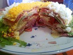Pastel Primavera. Comida típica argentina, a base de panqueques (tipo frixuelos) y embutidos. Impresionante!