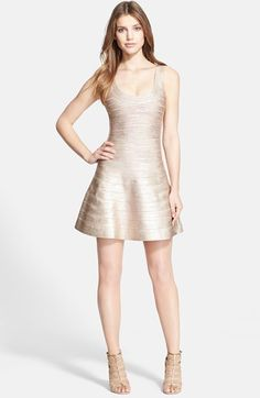 Free shipping and returns on Herve Leger Bandage Tank Dress at Nordstrom.com. Metallic ombré coloring ices a short tank dress with frigid shine. For an endlessly flattering silhouette, ultra-stretchy bands sculpt the figure before flaring into a perfectly