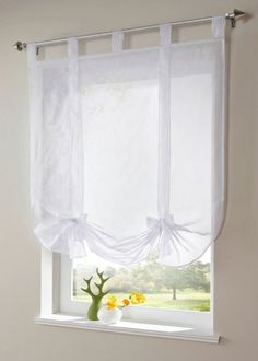 Amazon.com: Uphome 1pcs Cute Bowknot Tie-Up Roman Curtain - Tab Top Sheer Kitchen Balloon Window Curtain,31 x 55 Inch,White: Home & Kitchen