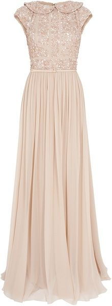 You know, in case you ever need to be modest while attending the Oscars. Elie Saab Cap Slb Beaded Top Silk Gown in Pink (gold)-- my style (I wish also my size) but Im afraid not my price! Oh well I can dream! Love it!! Beautiful and modest!!