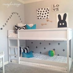 All white IKEA Kura bed for Scandinavian-like kids room - DigsDigs Bunk Beds With Stairs, Kids Bunk Beds, Ikea Kids Bed, Kura Cama Ikea, Kids Bedroom, Kids Rooms, Girl Room, Bed Ideas, Room Ideas