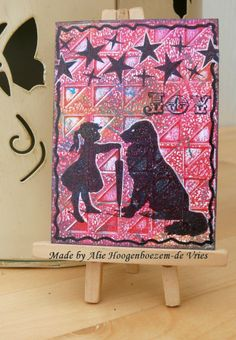 ATC with gelli print background and Stampinback.nl stamps, made by Alie Hoogenboezem-de Vries