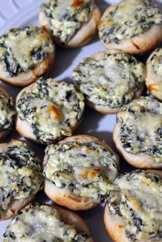 Baked Spinach Dip Cups in Mini Breadbowls