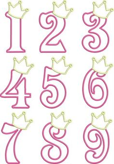 Birthday Princess Numbers- so cute! I& thinking of making the numbers in Candy Melts (fill in solid) and adding to the cake for the Birthday Princess! Royal Icing Templates, Royal Icing Transfers, Cake Templates, Princess Cookies, Fondant Letters, Chocolate Decorations, Princess Birthday, Princess Party, Princess Sophia