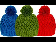 Learn to crochet diamond stitch beanie hats. These set of hats are very comfortable and useful for winter. Crochet Hooded Scarf, Crochet Beanie Hat, Beanie Hats, Knitted Hats, Easy Crochet, Knit Crochet, Crochet Hats, Crochet Baby Clothes, Newborn Crochet