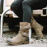 Item ID: Heel Type:Low Heel Heel Height Type:Low Heel Upper Material:PU Shoes Style:Cowboy, Western,zipper Boot Height:Mid-Calf Toe Type:Round Toe Accents:Adjustable Buckl. Casual Heels, Casual Boots, Low Heels, High Heel, Baskets, Buckle Boots, Mid Calf Boots, Long Boots, Fashion Boots