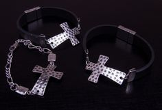 Hammered silver-plated cross with a variety of black or slate grey leather or chain linked bracelets. be inspired  Charmington Designs. http://charmingtondesigns.com/