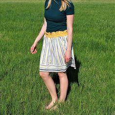 Circle Jersey Striped Skirt / Spring Summer White Yellow Blue Striped Skirt / Elastic Yellow Waistband Summer Spring Skirt