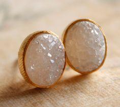Gold Oval Druzy Stud Earrings - Post Earrings - Geode Earrings, AAA Quality. $55.00, via Etsy.