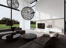 Wohnzimmer in Schwarz und Weiß mit Fensterwand