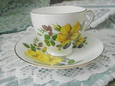 Florence vintage teacup and saucer fine bone by SumertaDesigns