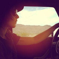 Kate Moennig - driving in the California desert - july 2013