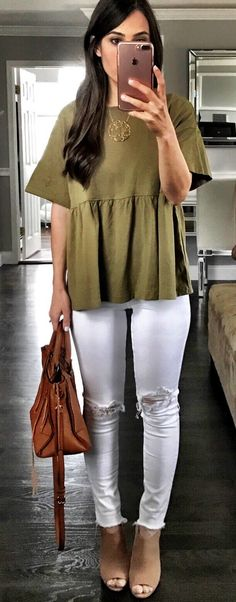 Green Top & Ripped Skinny Jeans & Brown Leather Tote Bag