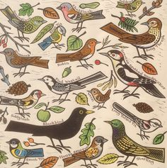'Garden Birds' By Printmaker Gerard Hobson. Blank Art Cards By Green Pebble. www.greenpebble.co.uk