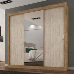 bfff9997967 Guarda Roupa Casal com Espelho 3 Portas 3 Gavetas Flex Color Smart Maxel  Ipê Tex