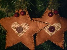 Two New Handmade Primitive Rustic Country Style Fabric Stars Christmas Ornaments | eBay