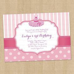 Tutu Birthday Party Invitation Digital Printable, any wording any color any age via Etsy