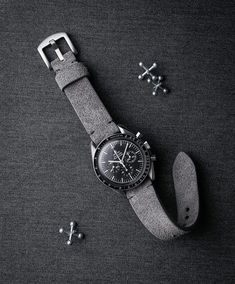 "Vintage Omega Speedmaster dressed up with ""Cygnet"" a handsome grey Bas and Lokes suede handcrafted watch strap. Available at www.basandlokes.com"