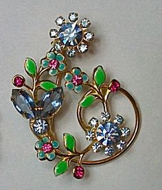 886e26aeb 1960`S BROOCH ENAMEL & AQUAMARINE RHINESTONES (Jewelry) at Boondockcabin  Antiques and Collectibles