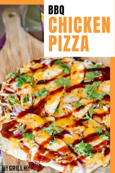 This BBQ Chicken Pizza is better than any pizza you'll get at your local pizza joint. Homemade crust is piled high with cheese, grilled chicken, BBQ sauce, red onion, and fresh cilantro for a delicious and filling pizza made in your own backyard.
