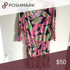 Lilly dress Lilly Pulitzer Cotton dress. Gathered waist with a loose top. Lilly Pulitzer Dresses Long Sleeve