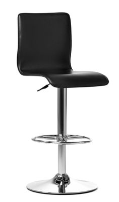 Dylan stool. Black regenerated leather and chromed metal
