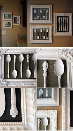 Framed Vintage Silverware Art Project