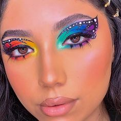 The theory is that, all-natural make-up need to be oh-so uncomplicated - it's small, which Cool Makeup Looks, Crazy Makeup, Cute Makeup, Pretty Makeup, Eye Makeup Designs, Eye Makeup Art, Colorful Eye Makeup, Makeup Ideas, Fairy Makeup