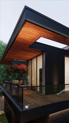 Modern Wood House, Modern House Design, Japanese Modern House, Modern Tropical House, Modern Houses, Modern Architecture House, Interior Architecture, House Arch Design, Architect Design House