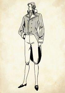 フラックとキュロットを着た正装姿のフランス貴族の男性のイラスト メンズ コーデ フランス 歴史