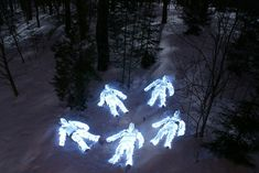 """""""the whimsical nature of these light paintings by Helsinki-based photographer Janne Parviainen who has been drawing skeletons and other kinds of light figures in camera for over four years."""""""