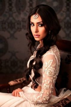 The Vintage Center Parted Very Long Curly Wavy Brunette Hair for Indian Wedding Hairstyles