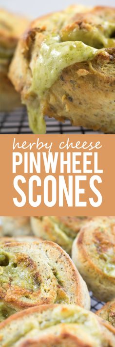 Herby Cheese Pinwheel Scones - Packed with mixed herbs, basil pesto and stuffed with cheese that melts into every crevice! These pinwheel scones are AMAZING!!