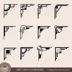 ART DECO CORNERS Clipart Digital Clip Art, Instant Download, Vintage Design Elements Antique Borders