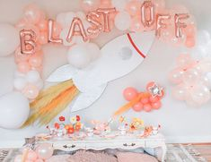 A Rad DIY Rocket Birthday Party – Inspired By This Looking for a DIY birthday party idea you can pull off and totally rock your kid's world? We're more than impressed by Roxanne McClure's rad rocket birthday party for her boy and girl kiddos. Birthday Weekend, Diy Birthday, Children Birthday Party Ideas, Kids Birthday Decorations, Girl Birthday Party Themes, Kids Birthday Themes, Birthday Centerpieces, Kids Party Themes, Rocket Birthday Parties