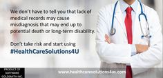 We don't have to tell you that lack of medical records may cause misdiagnosis that may end up to potential death or long-term disability. Don't take risk and start using #HealthCareSolutions4U Register today! https://www.healthcaresolutions4us.com/register.php Store. Manage. Stay Healthy.