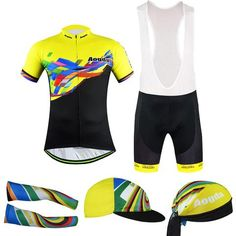 Men's Yellow Short Sleeve Cycling Jersey Full Set #Cycling #CyclingGear #CyclingJersey #CyclingJerseySet
