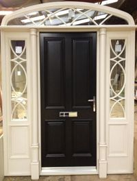 Ached sunray fanlight with inset slips