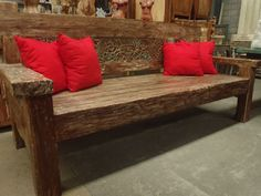 Rustic Solid Balinese Daybed Red Cushions Look Great