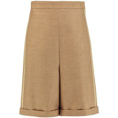 Chloé Woven wool-blend shorts ($375) ❤ liked on Polyvore featuring shorts, short, sand, woven shorts, highwaist shorts, high rise shorts, high waisted shorts and chloe shorts