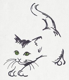 Cat Stretch | Urban Threads: Unique and Awesome Embroidery Designs Painted Mugs, Painted Rocks, Wood Burning Stencils, Wood Burning Patterns, Stencil Patterns, Painting Patterns, Machine Embroidery Designs, Embroidery Patterns, Cat Stretching