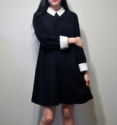 Vintage black dress with white butterfly collar!