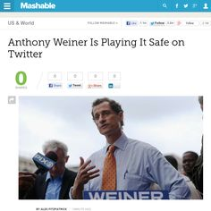 http://mashable.com/2013/05/23/anthony-weiner-twitter-safe/ Anthony Weiner Is Playing It Safe on Twitter | #Indiegogo #fundraising http://igg.me/at/tn5/