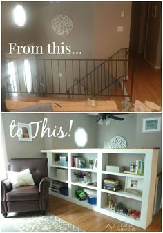 Creating a built in bookcase instead of a railing at the top of the stairs!
