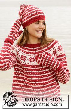 Candy Cane Lane Sweater pattern by DROPS design Jumper Knitting Pattern, Mittens Pattern, Knitting Patterns Free, Knit Patterns, Free Knitting, Drops Design, Drops Karisma, Magazine Drops, Knitted Beret